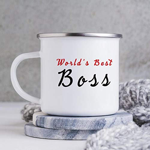 World's Best Boss Enamel Camping Coffee Mugs Resusable & Portable Enamel Campfire Tin Mugs 10 oz Metal Enamel Drinking Mugs Cups Ideal for Home/Office/Travel/Camping
