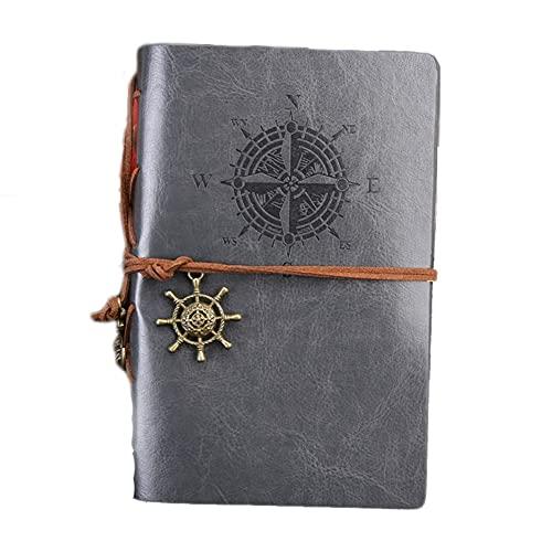 LYLY Notizbuch Set Handbücher Reisetagebuch Notizbuch Sub-Notebook Kraft Retro Leder Handbücher für Schule Zuhause & Büro Journal (Farbe: Grau)
