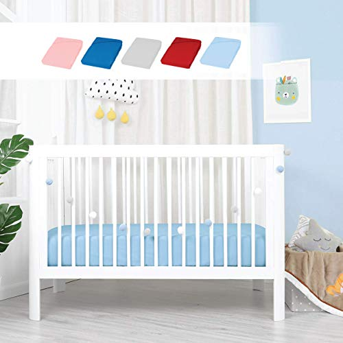 Double Jersey - 2er Set Spannbettlaken für Babybett und Kinderbett, Ultra Weich atmungsaktive Bettlaken 100{28b6a00e6516b4d2c2543574509ee4ddee4fd09b2ebd349a2a783c1523334f1a} Baumwolle, Doppeltpack 60x120x15 Himmelblau