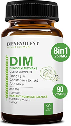 Maximum Strength DIM Supplement 250mg – Diindolylmethane Ultra Complex PLUS Chasteberry, Dong Quai Extract + MORE, 90 Vcaps, Estrogen Blocker, Hormone Balance for Women and Men, Menopause, PCOS Relief