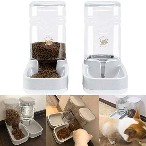 Old Tjikko Automatic Cat Feeder Waterer,Cat Water Fountain,1 Gal Pet Automatic Dog Water Dispenser for Small Large Dog Pets Puppy Kitten Big Capacity 1 Gallon x 2 (Water+Feeder)