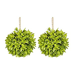 """Silk Flower Arrangements SN Decor Artificial Boxwood Ball 2Pcs Bay-Leaf Hanging Boxwood Ball (5""""x5"""") Hanging Topiary for Office Home Decor Indoor and Outdoor Faux Leaves Bay Leaf Ball - New"""
