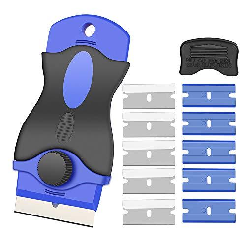 Kingsdunスクレーパーガラススクレーパーポケットスクレーパーステンレスブレードプラスチック刃安全スクレーパーガラス汚れ落とし壁面の付着物のかき落とし替刃付10個ステッカー/シール/ラベル/接着剤剥がし