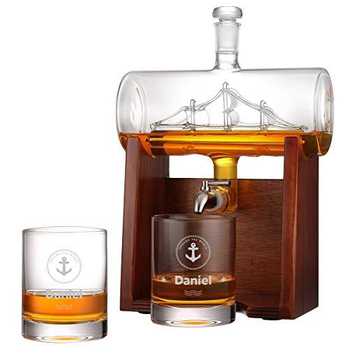 polar-effekt Whisky-Dekanter mit 2 gravierte Whiskygläser 320ml, 1000ml Whiskey-Karaffe Bleifreie Dekanter mit Holzständer und Edelstahlhahn, für Brandy Wein Cognac Rum Gin Scotch, super Geschenk
