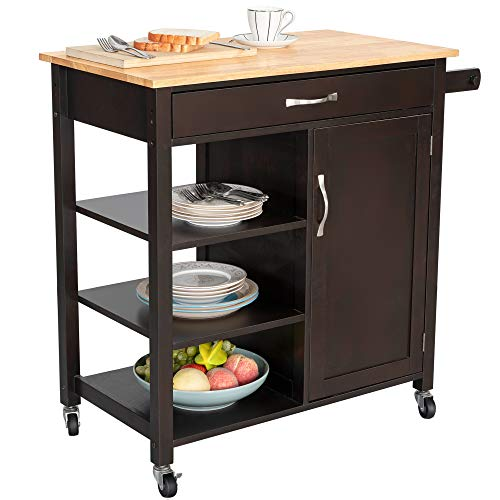 Bizroma Rolling Kitchen Island Kitchen Cart with Wheels, Butcher Block Island with Solid Wood Top, Kitchen Storage Cabinets with Towel Rack, Open Shelves, Doors and Drawers, Espresso