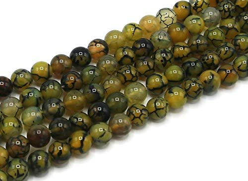 Japan's largest assortment GEMZ Natural 8 mm Wholesale Yellow Dragon Shape Agate Smooth Veins Round B