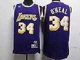 Jerseys Ropa Baloncesto para Hombre, NBA Los Angeles Lakers # 34 Shaquille O'Neal, Comfort Classic Comfort Camiseta Transpirable Camiseta Uniformes Deportivos Tops(Size:/ XXL,Color:G1)