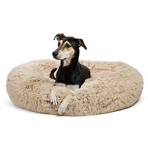 Best Friends by Sheri Calming Shag Vegan Fur Donut Cuddler, Self-warming Removable and Washable Shell for Pets up to 100 lbs (Taupe, Large 36x36