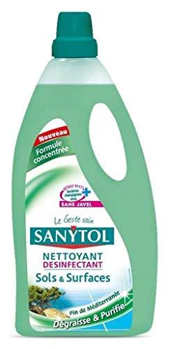 Sanytol Limpiador Desinfectante Suelos y Superficies dégraisse y Purifie Pin de méditérannée 1L (Lote de 3)