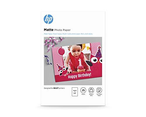 HP Matte Photo Paper, 7HF70A, 25 hojas de papel fotográfico mate avanzado, compatible con impresoras de inyección de tinta, 10x15cm, peso del material de impresión 180 g/m²