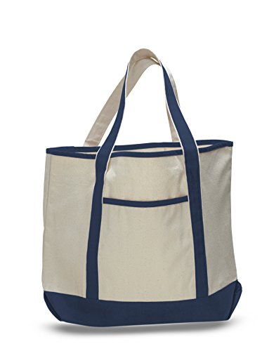 (3 Pack) Set of 3- Deluxe Heavy Cotton Canvas Large Tote Bag (Navy)