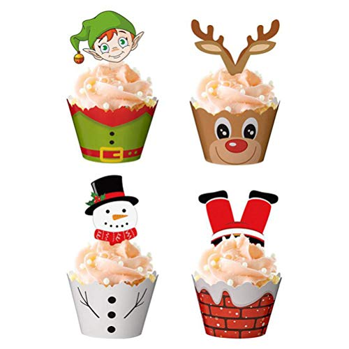 TIANTIAN 12 Sets Christmas Cupcake Toppers Wrappers Cupcake Liners Cupcakes with Border Inserts for Cake Cups Decoration Inserts Birthday Party Supplies Baby Shower Themed Party