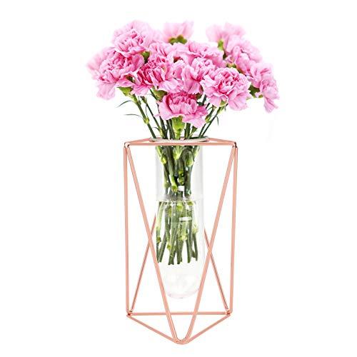 GLAITC Vase à Fleurs avec Cadre en Métal,Or Rose/Or Cadre métal et Tube essai en Verre Vases de jardinière de Fleurs Vase cylindrique pour décoration intérieure de Mariage de Bureau Large Rose Gold