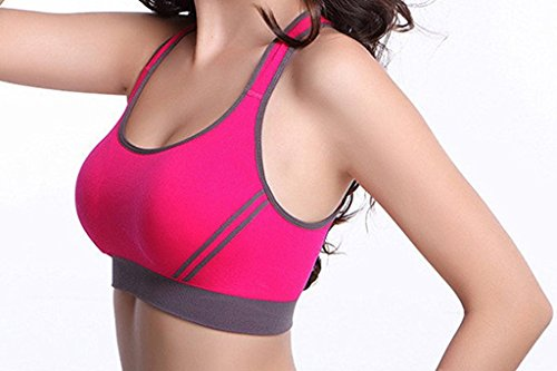 DODOING Women Jogging Sports Blockout Bra Vest Gymwear Fitness Crop-top Yoga Exercise Tank Tops, M, Black & Red & White(3-pack)