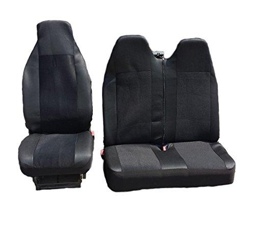 Negro Single + doble confort asiento de tela cubre adaptados para Volkswagen T41990–2004VW T52006–2012
