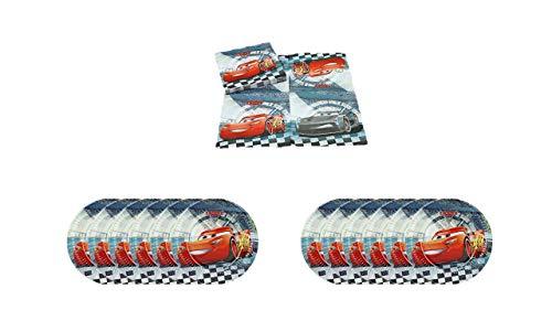 ALMACENESADAN 1083, Pack Maxi Disney Cars para Fiestas y cumpleaños, 16 servilletas, y 12 Platos