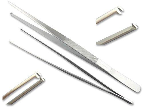InstrumenteNrw Exklusive Grillpinzette, Küchenpinzette, Kochpinzette, Pinzette mit V 1:2 Zahnung aus gehärtetem rostfreiem Spezialstahl (45 cm)