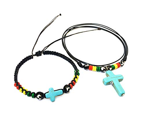 LAVIP Leather Necklace and Bracelet Christian in Turquoise Color Hawaiian Hemp Rasta Plaided Hippie Braid