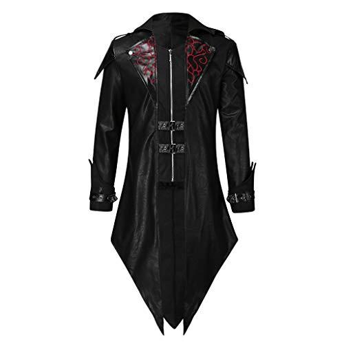 baskuwish Men's Asymmetrical Zip Up Jacket, Mens Matrix Trench Coat Steam punk Gothic (XL, Black 1)