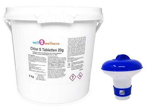 Cloro S Pastillas - Rápido Soluble Pastillas de Cloro 20G, 5,0 kg Plus Dosificador