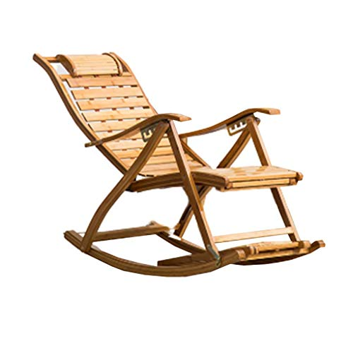 SGSG Bamboo Rocking ChairFolding Chair, Leisure Nap Bamboo Rocking Chair, Bamboo Lazy Balcony Adult Recliner