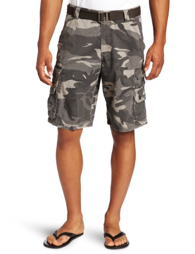 Lee Men's Dungarees Belted Wyoming Cargo Short, Ash Camo, 42