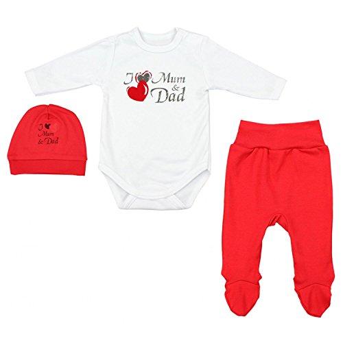 TupTam Baby Unisex Bekleidungsset mit Aufdruck 3 TLG, Farbe: I Love Mum and Dad Rot, Größe: 56