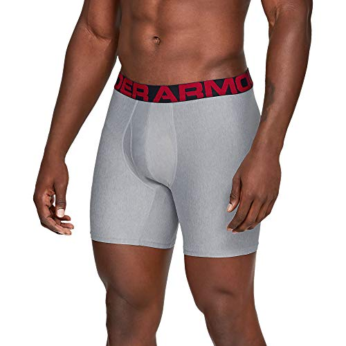 Under Armour Herren Tech 6in 2 Pack schnelltrocknende Boxershorts, komfortable Unterwäsche mit enganliegendem Schnitt, Grau (Mod Gray Light Heather (011)/Jet Gray Light Heather), Large