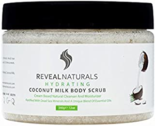 100% Natural Coconut Oil Scrub for Face and Body - Dead Sea Salt, Almond oil, Argan oil. Shea Butter, Unique Blend of Organic Essential Oils - Skin Exfoliator & Moisturizer For All Skin Types (12 OZ)