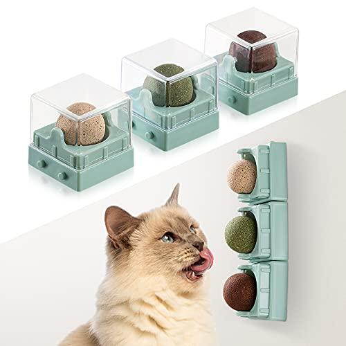 Agelvren Katzenminze Spielzeug, Catnip Spielzeug für Katzen,3 in 1 Katzenminze Ball für Katzen Set, Rotierender natürlicher essbarer Katzenminzenball