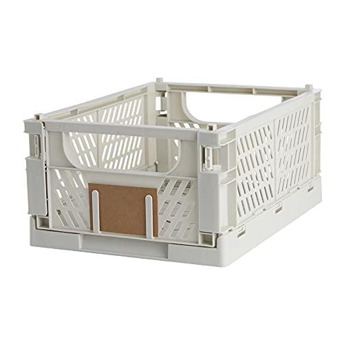 Caja de almacenaje plegable y apilable, medida 33x24.5 cm, altura 15 cm, Capacidad 10 Lts | Ideal para cocina, garaje o en estanterías de sus guardados. Mod. UT4021 (Natural)