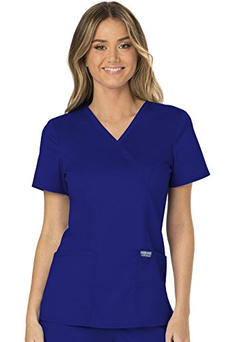 CHEROKEE Workwear WW Revolution Mock Wrap Top, WW610, M, Galaxy Blue