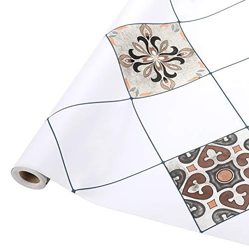 Fliesenaufkleber selbstklebende, 61 x 500cm Mosaikfliesen Küchenrückwand Tapeten für Bad und Küche, PVC Fliesensticker Wandfliesen Wandaufkleber Fliesendekor Fliesenfolie in Badzimmer Typ-A