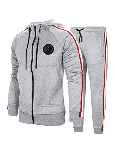 PASOK Men's Casual Tracksuit Set Long Sleeve Full-Zip Running Jogging Athletic Sweat Suits (S, Style 2 Light Gray)