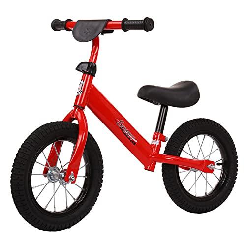 Bicicleta Sin Pedales para Niños De +2 Años con Sillín Ajustable En Altura 12 Pulgadas Bicicleta De Equilibrio Asiento para Niños De hasta 30 Kg,Rojo