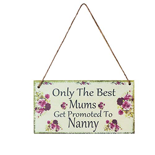 NUOLUX Mums Get Promoted to Nanny, 20.3 × 11 × 0.5cm Wooden Hanging...