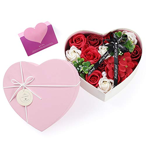 Wodasi Künstliche Blumen Rosen mit Grußkarte, Gefälschte Blumen-Geschenkbox Künstliche Seife Rose für Immer konserviert Damen Blumengeschenk für Muttertag, Valentinstag, Lehrertag, Hochzeit