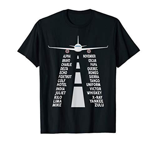 Pilot & Flugzeug phonetisches Alphabet T-Shirt Geschenk für Pilot