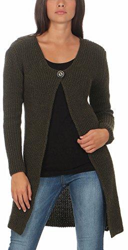 Malito Damen Lange Strickjacke   Cardigan im Grobstrick Look   Weste mit Wolle   Mohair - Jacke - Mantel 7020 (Oliv)