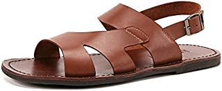 Summer Genuine Leather Sandals Cheap Beach Men Sandals Slippers Men Casual Sandals Comfort and Style (Color : Brass, Size : 9.5-MUS)