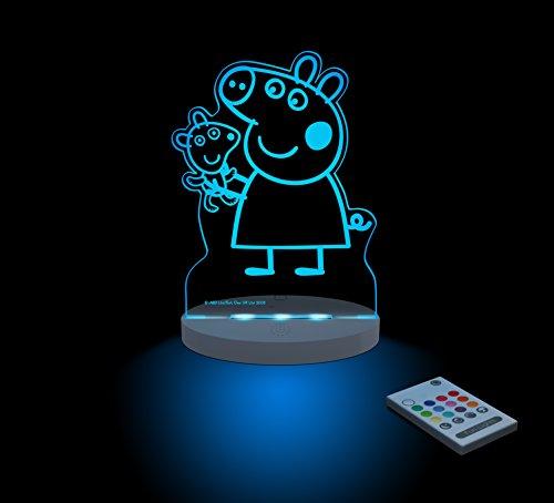 FUNLIGHTS Peppa Pig & Teddy Lámpara Bebé LED Multicolor con Mando. Elige el Color, Intensidad, Temporizador, Arco-iris y ¡mucho más!