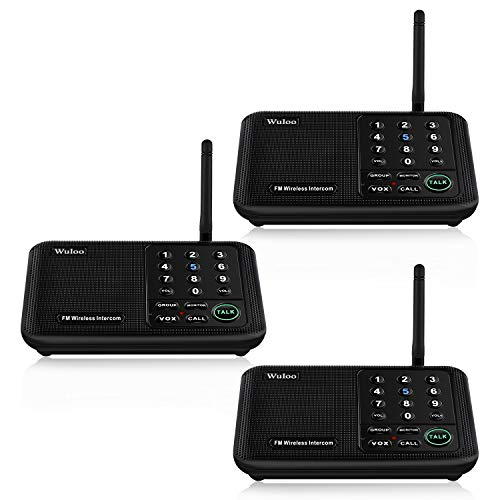 Wuloo Intercoms Wireless for Home 5280 Feet Range 10 Channel 3 Code, Wireless Intercom System for Home House Business Office, Room to Room Intercom, Home Communication System (3 Packs, Black)