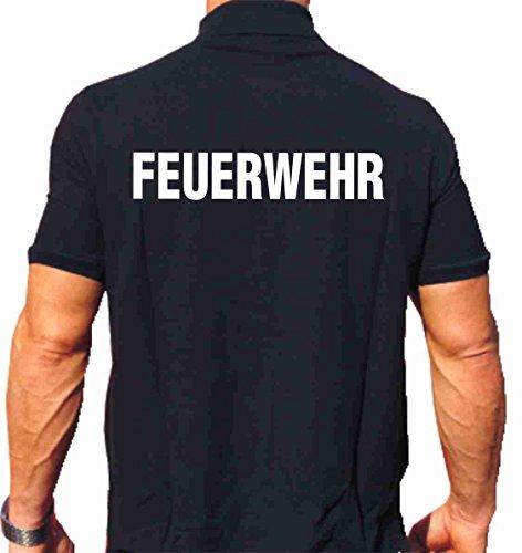 feuer1 Polo-Shirt Feuerwehr - weisser beidseitiger Schriftzug