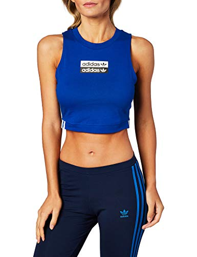 adidas Crop Tank Top Donna Blu EC0705 Blu 44
