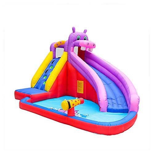 Glücklich Hippo Aufblasbare Prahler Hüpfburg Wasser Rutsche Für Kinder Party Wasserspray Klettern Trampolin Wasserspielzeug Für Kinder Mit Gebläse