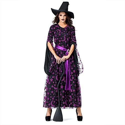 TWIFER Halloween Kostüm Damen Cosplay Party Star Magie Hexe Hexe Vintage Kleid (a-Violett,L)