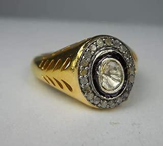 Mughal Style Rose Cut Diamond Uncut Diamond Polki Sterling Silver Filigree Royal Ring Statement Ring