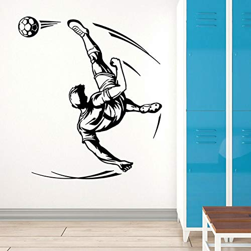 wZUN Jugador de fútbol Pelota fútbol Deportes Fan Juego Pared Pegatina Vinilo decoración del hogar Dormitorio calcomanía Mural 42X47cm