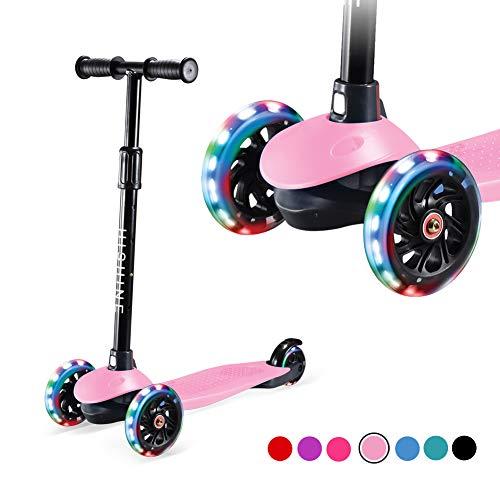 Patinete infantil para niños y niñas de 2 a 8 años, altura ajustable, cubierta extra ancha, ruedas iluminadas, fácil de aprender, patinete de 3 ruedas, Rosado