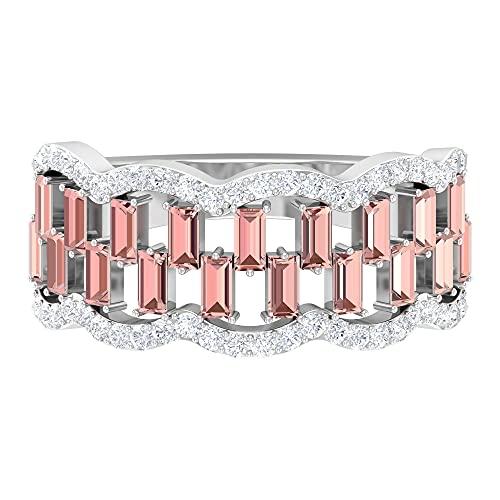 Banda de media eternidad, banda ancha de diamante, anillo de baguette para mujer, oro blanco, Metal precioso. Piedra preciosa. Piedra, Diamante negro creado en laboratorio,